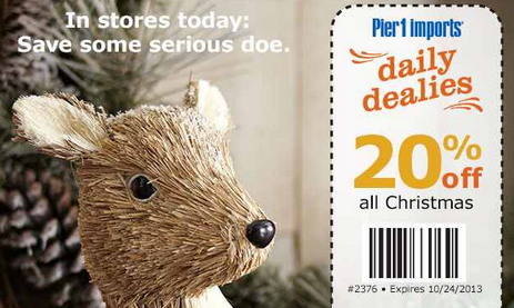 Pier 1 Imports: 20% Off In-Store Christmas Purchase Coupon Available