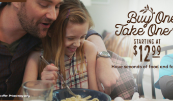 Olive Garden: Buy One Entrée, Take One Home FREE (Two Meals ONLY $12.99!)