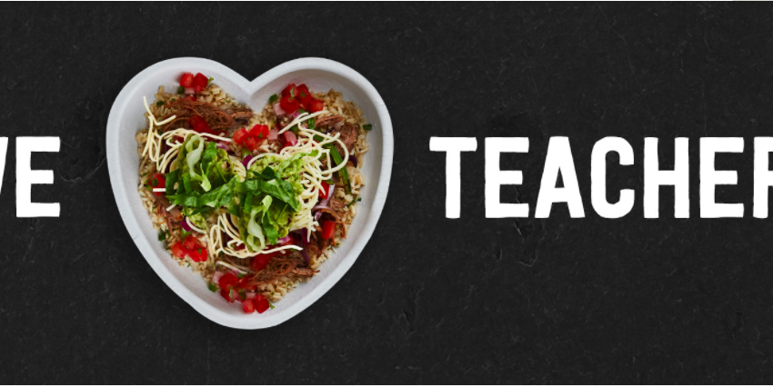 Chipotle Offers Teachers, Staff Free Item with Purchase on Teacher Appreciation Day