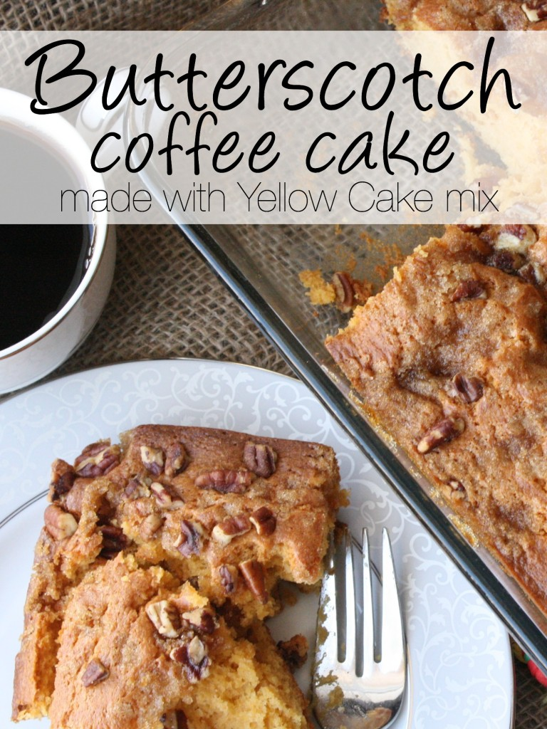 Use a coffee cake cake mix, brown sugar and a few more ingredients to make this coffee cake. It's SO quick and so simple and fantastic!!! http://couponcravings.com/butterscotch-coffee-cake/