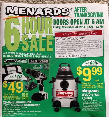 Menards Black Friday Deals 2014