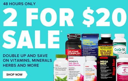 GNC.com: 2 Bottles For $20 Vitamin Sale