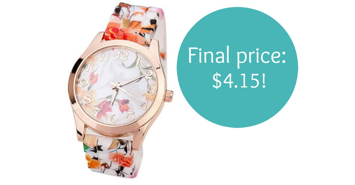 Women's Floral Pattern Watch Only $4.15 Shipped