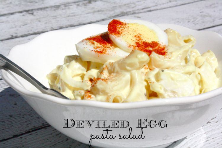 Craving deviled eggs but you don't want the fuss of cutting the eggs in half, yadda, yadda? This deviled egg pasta salad is awesome and easy - and so inexpensive to make, too! Check it out here.