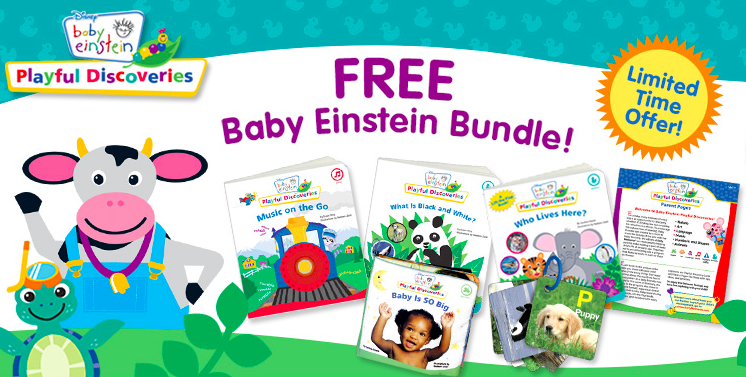 "Your free bundle will include 3 sturdy board books: ""Who Lives Here?"", ""Music on the Go"" and ""What is Black and White?"" along with a squishy plush book, ""Baby is SO Big"", discovery cards with ring, and an informative parent guide. http://couponcravings.com/free-baby-items-baby-einstein-book-set"