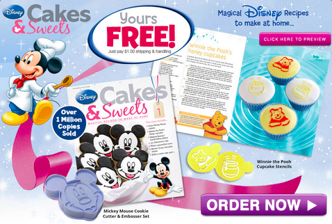 Free Mickey Mouse Cookie cutter/stencil to build a Disney cake, Winnie the Pooh cupcake stencils for Disney cupcakes & a Disney Cakes guide magazine! Request yours for free, for a limited time only!
