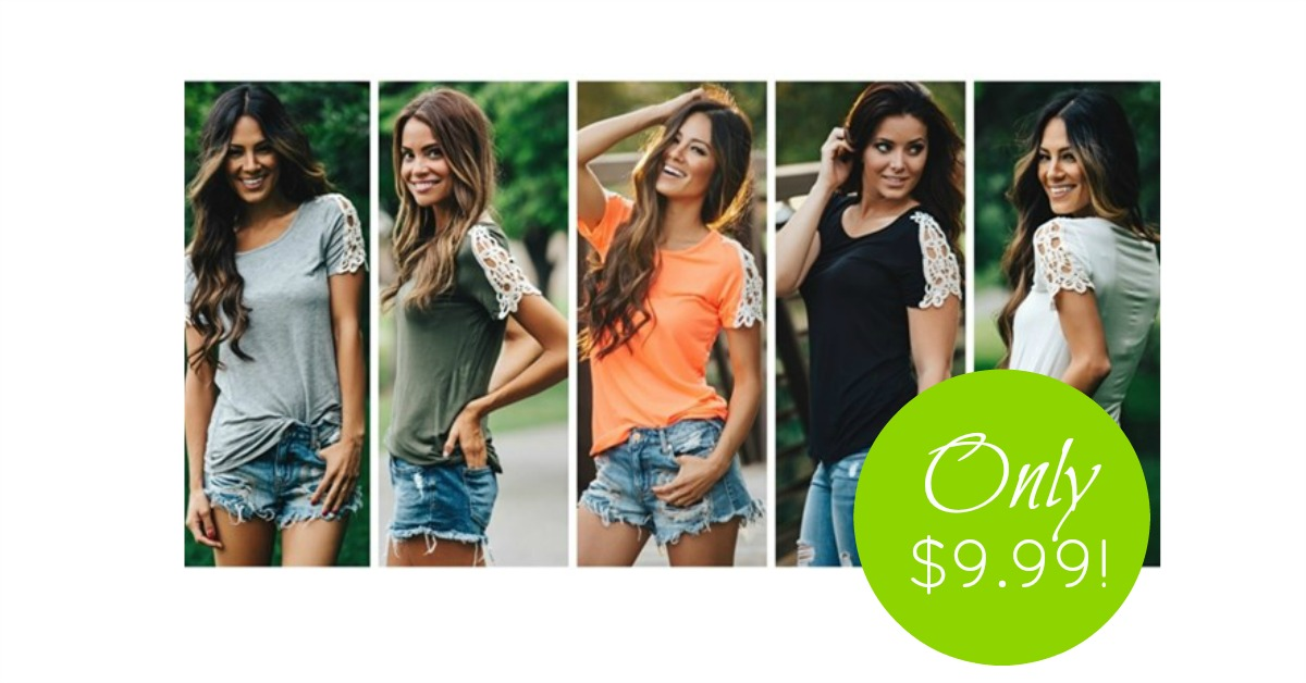 Lace Sleeve Slouchy T-Shirts, Only $9.99 Each