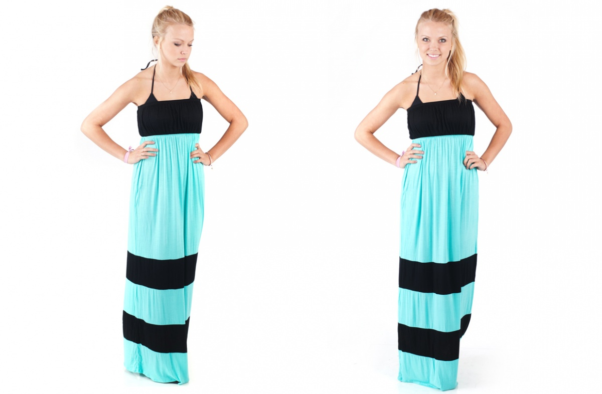 Colorblock Strapless Maxi Dress Only $10.99 -