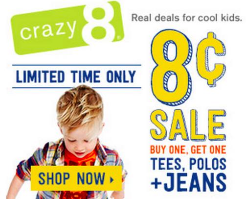 Crazy 8 Kids Clothing: BOGO ONLY $0.08 Each