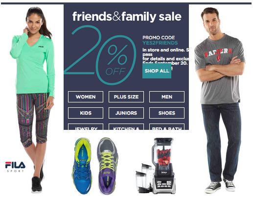 Kohls Friends Family Sale