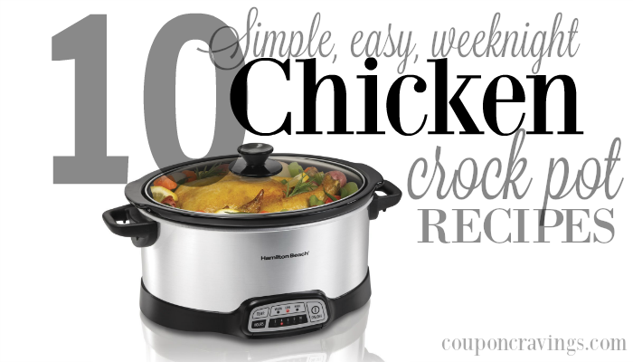 Looking to be on easy street for meals this week? These TEN Chicken Crock Pot Meals will be your savior. And total these recipes have been pinned over 300,000 times, so they're some of the most popular, too. While out your crockpot and your menu plan. These ones need to be on your grocery shopping list.