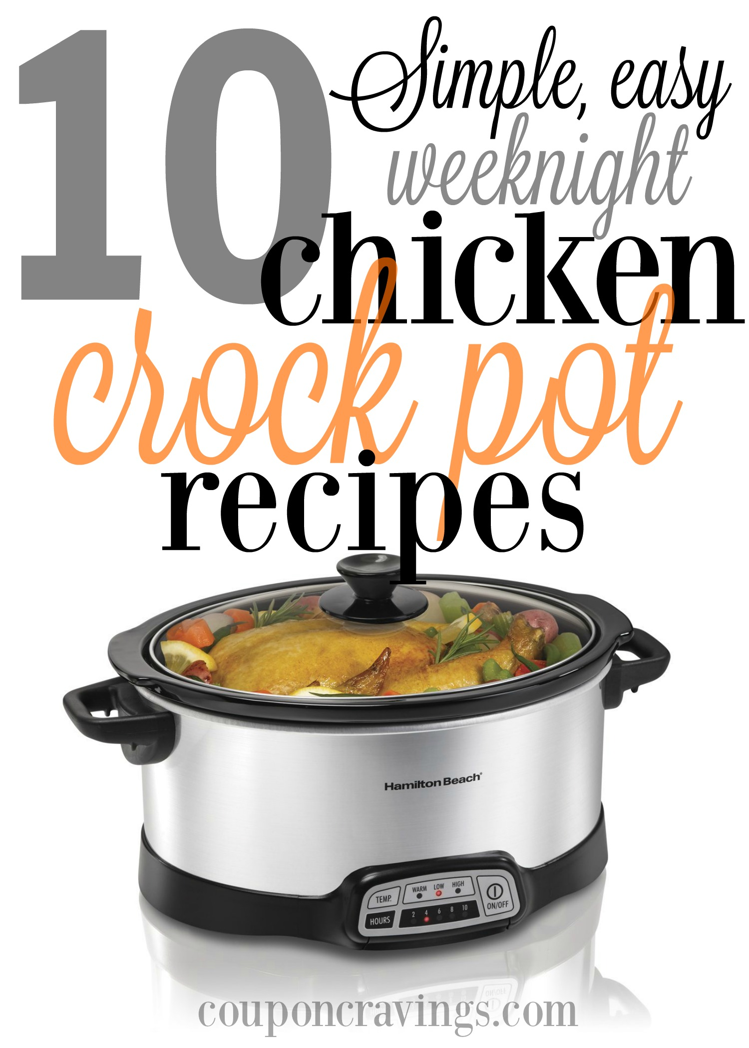 Looking to be on easy street for meals this week? These TEN Chicken Crock Pot Meals will be your savior. And total these recipes have been pinned over 500,000 times, so they are some of the most popular, too. Whip out your crockpot and your menu plan. These ones need to be added to your grocery shopping list.