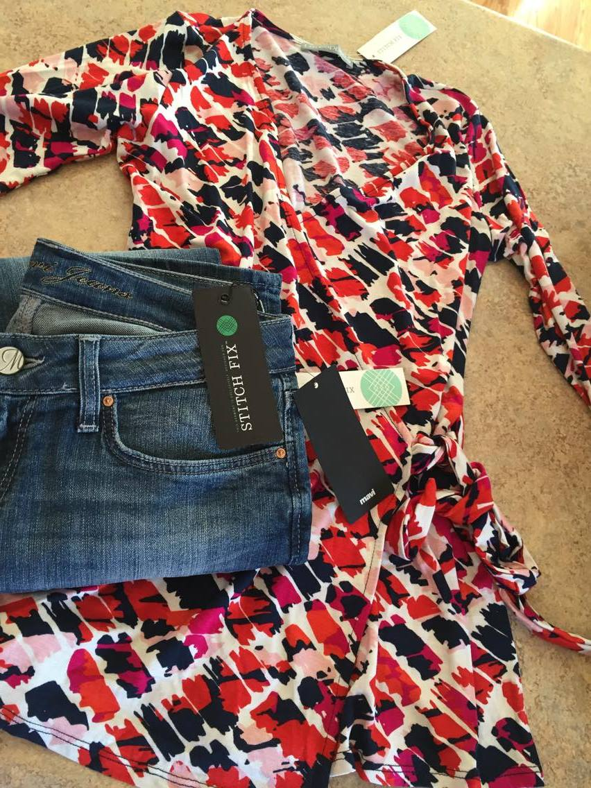 items from stitchfix. Shirt with pink, red and blue and blue jeans too