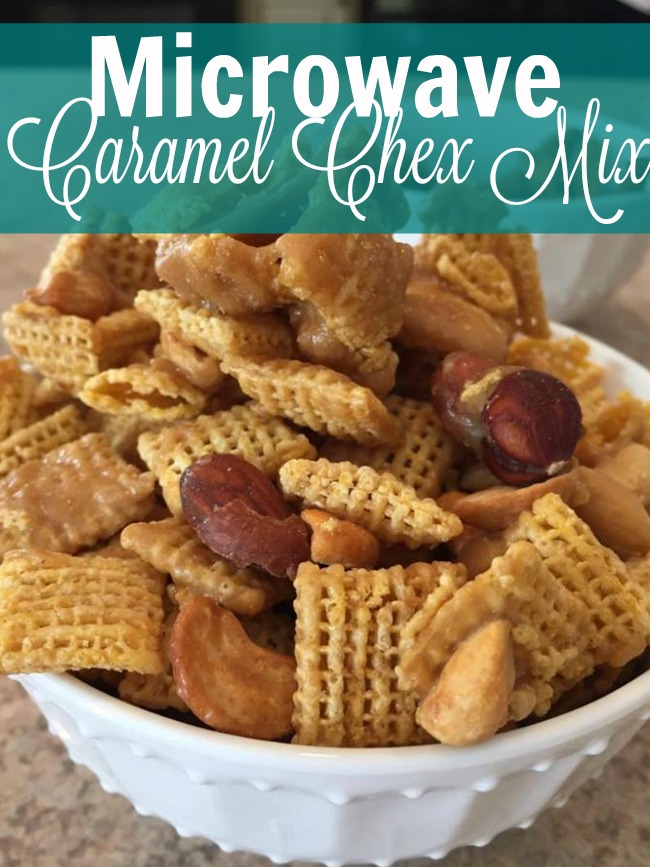 Looking for an easy snack? Our family LOVES this microwave caramel chex mix. It's so easy and you micrwave it all - no cooking or baking required! https://couponcravings.com/appetizers/