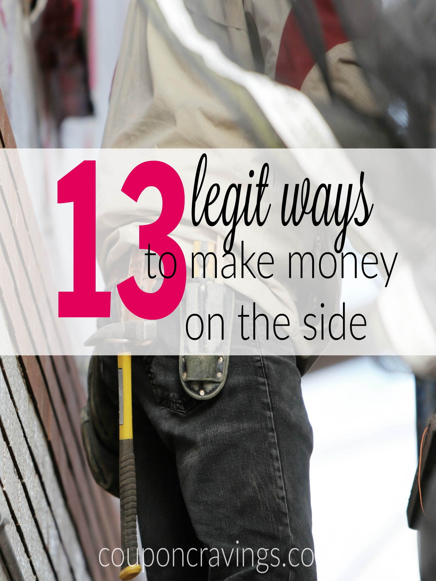 13 ways to make money on the side - ideas that are legit and real. There are a couple ways in this post to earn over $600 per year. https://www.couponcravings.com