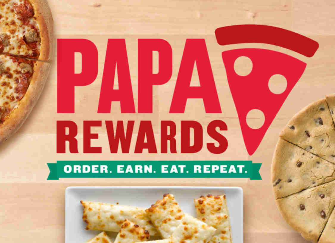Papa John's Loyalty Program Papa John's offers a free Papa Rewards program to earn free food, faster checkout, a birthday treat, and exclusive offers. Sign up with an email address, place orders online, earn one point for every $5 spent, and redeem your points for food.