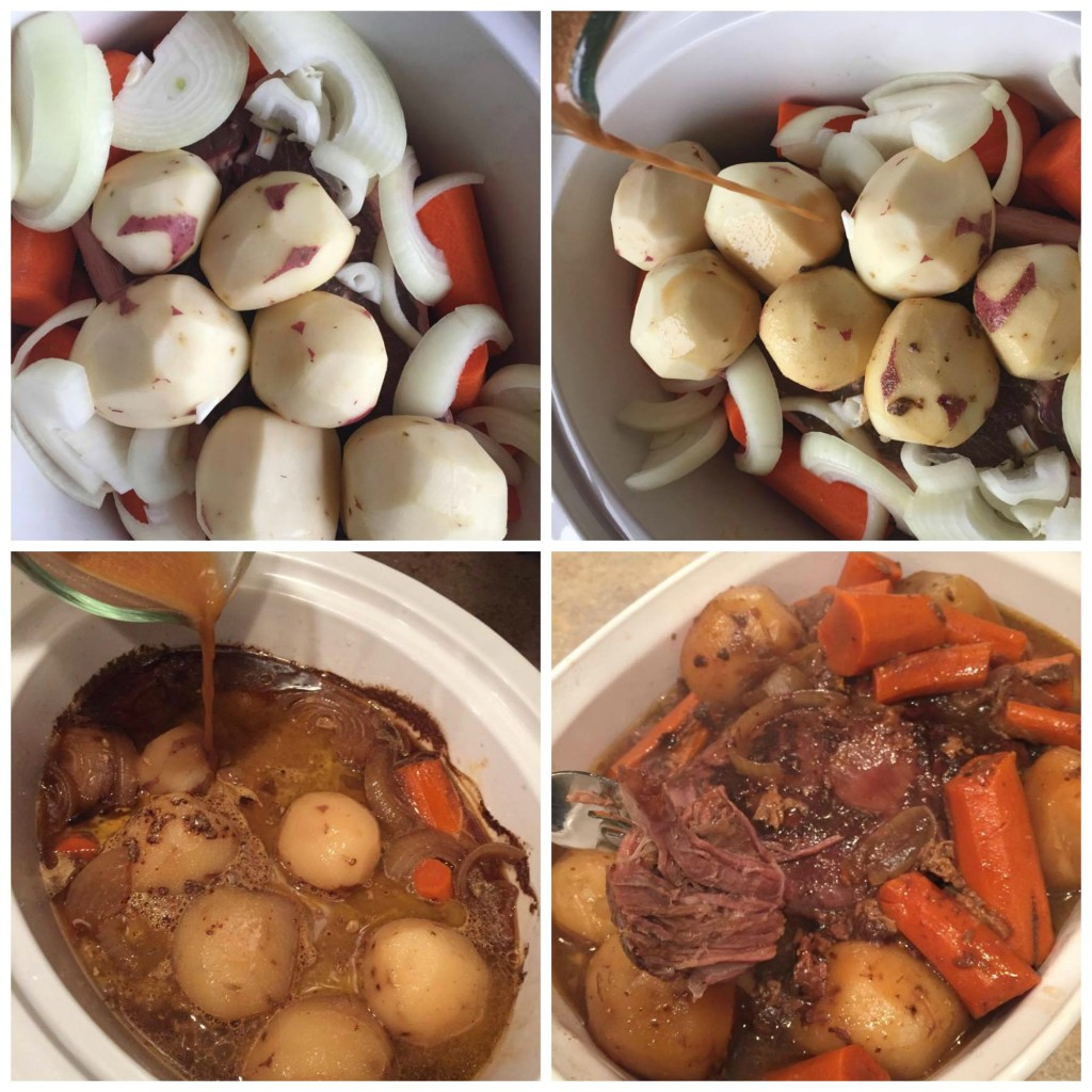 This slow cooker pot roast is my go-to meal on a busy week. Pop it in the crock pot and you're ready to go for dinner. Its so good, too. Nothing like a perfect pot roast to scream comfort food! https://couponcravings.com/slow-cooker-pot-roast/