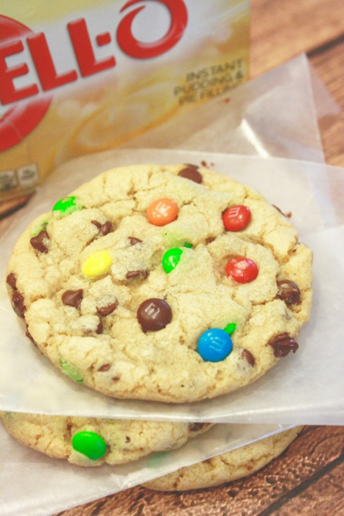 These are those cookies with pudding mix, chocolate chip morsels and mnms - seriously to DIE for! And, the recipe makes 45 good sized cookies. This is my new go-to recipe!
