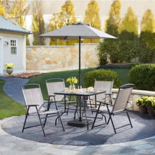 piece patio dining set just 99 includes 4 chairs table umbrella
