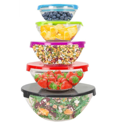 10 piece glass mixing bowl set w lids only shipped. Black Bedroom Furniture Sets. Home Design Ideas
