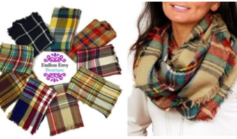 Plaid Infinity Blanket Scarves Ship for $12