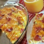 quick breakfast casserole in a pie plate
