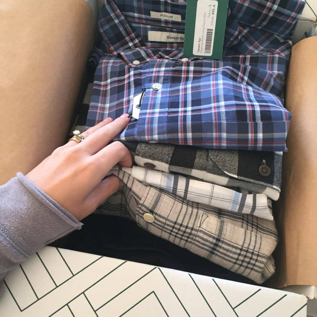 One of my husband's Stitch Fix Men's Boxes from last year with five items