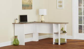 L-Shaped Desk with Bookshelves at Great Price!