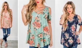 Floral Open Shoulder Tops ONLY $21.99