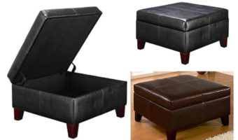Faux Leather Square Storage Ottoman at a Great Price