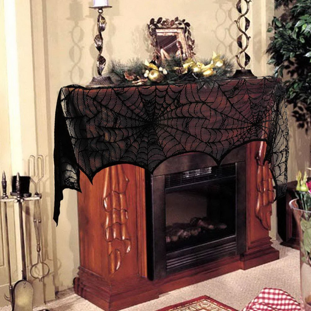 Fireplace Halloween Decorations: Halloween Black Lace Spiderweb Fireplace Scarf At A Low