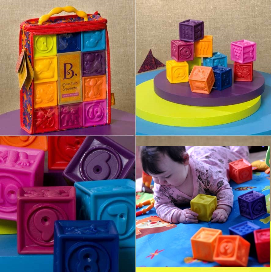 Building for Toddlers Educational... One Two Squeeze Baby Blocks Toys B