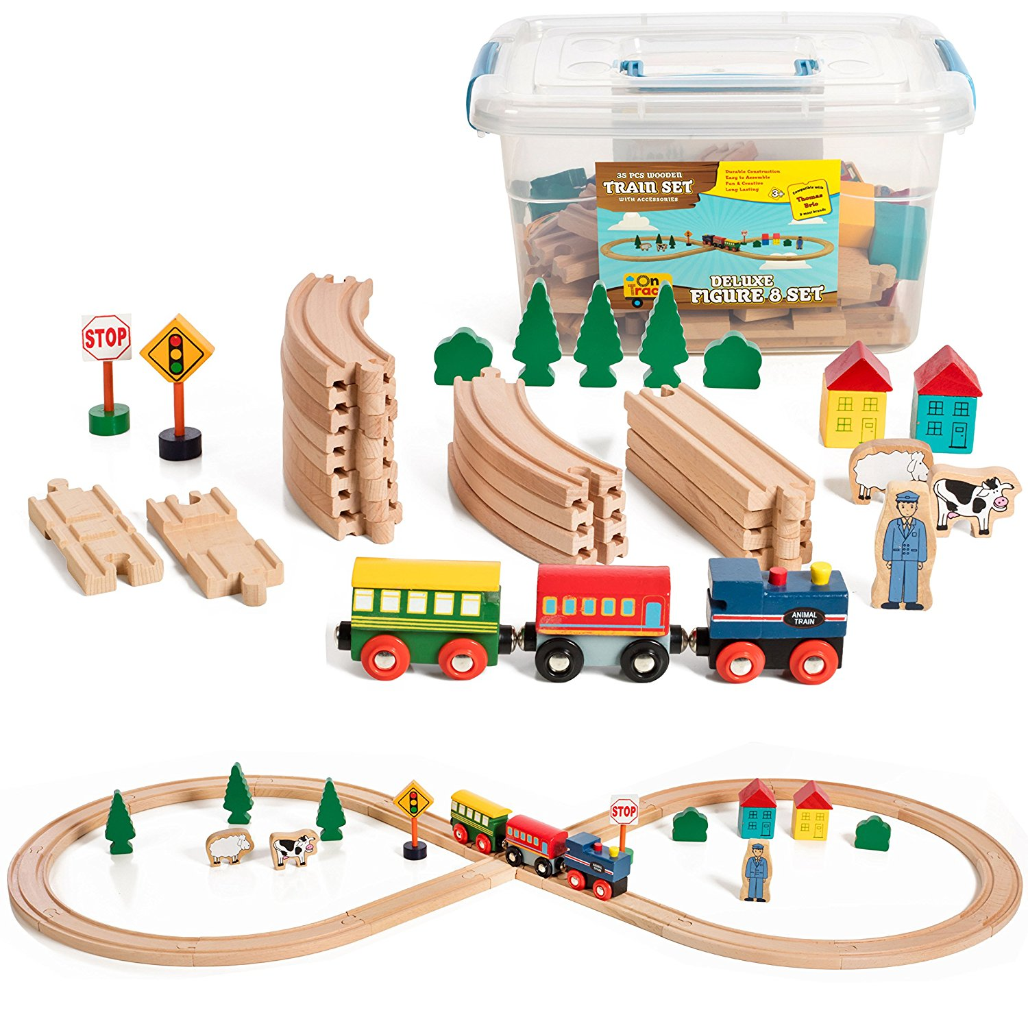 Deluxe Figure 8 Wooden Train Set At A Great Price