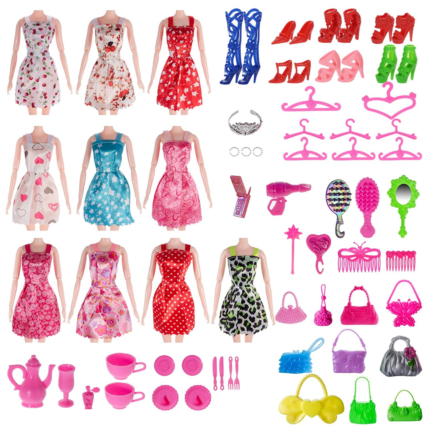 Set Of 120 Barbie Clothes And Accessories At The Lowest