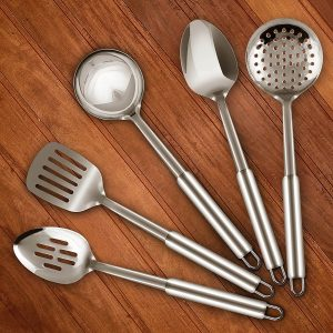 Utopia Stainless Steel 5 Pc. Cooking Spoon Set