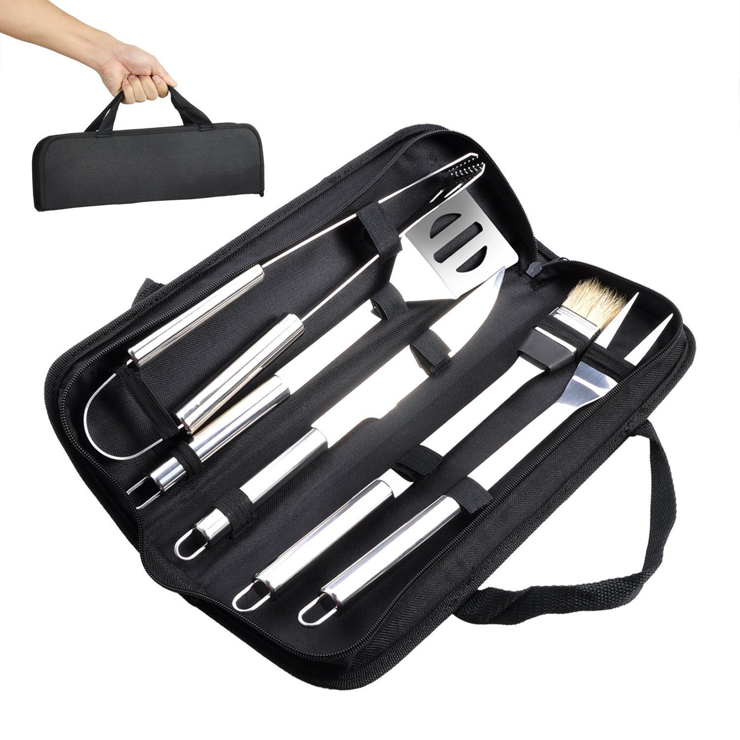 Professional grade stainless steel bbq grill tools set