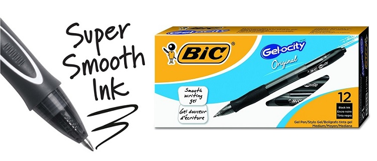 BIC Gel-ocity 12-Count Retractable Gel Pens