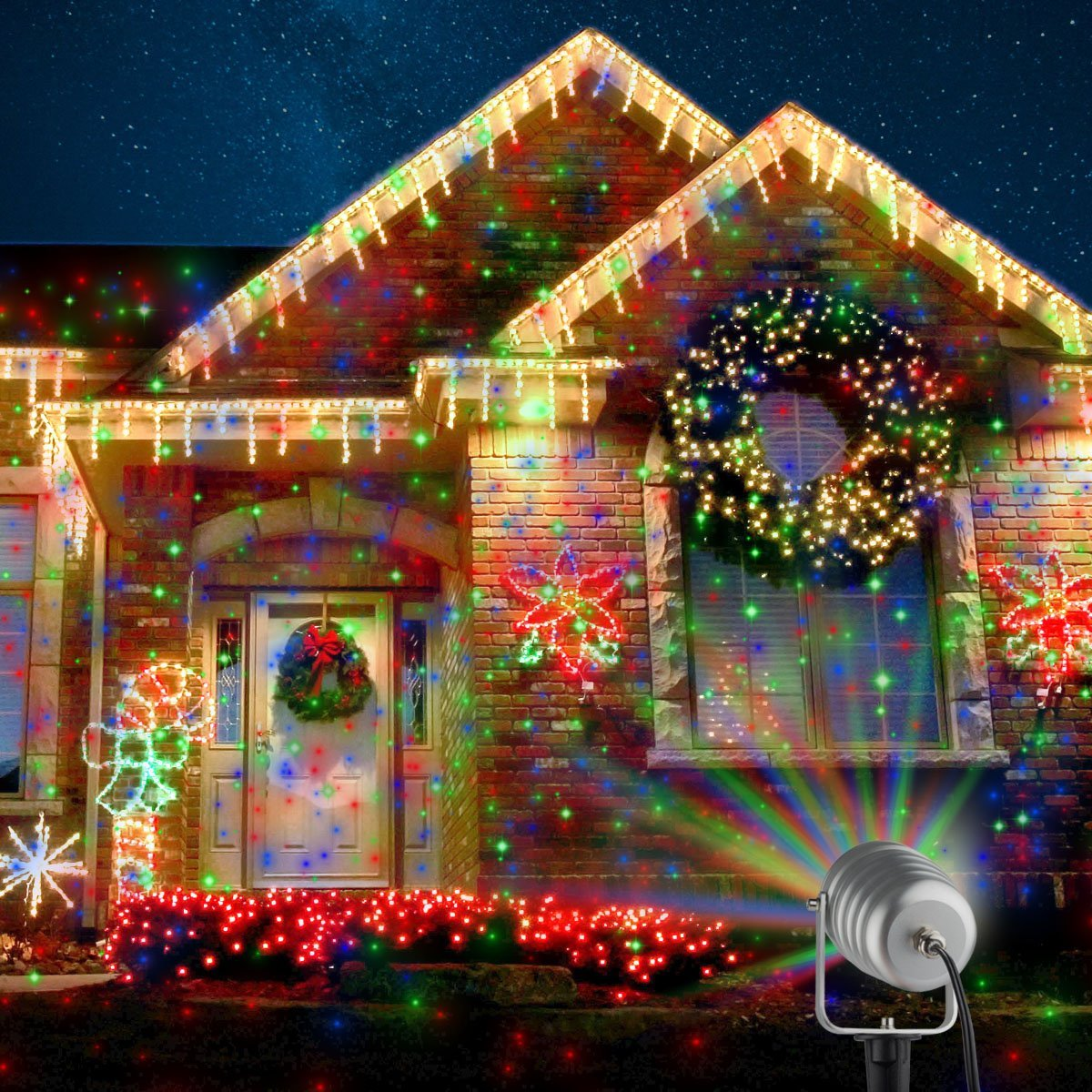 Outdoor Christmas Lighting Ideas: Outdoor Christmas Laser Projector Motion Lights $53.99