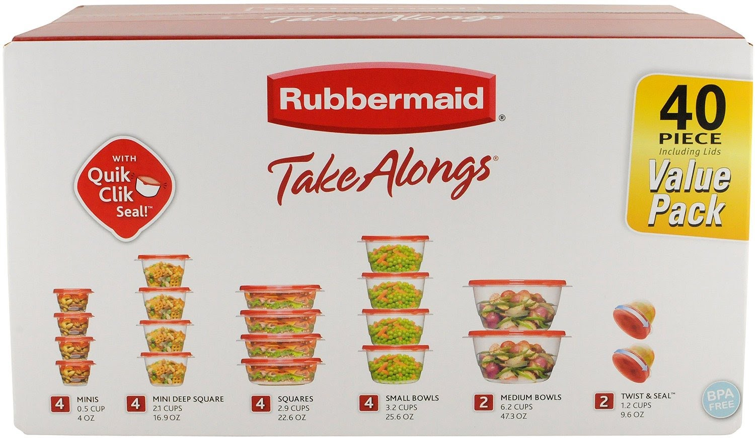 Rubbermaid TakeAlongs 40 Piece Food Storage Containers Set 899