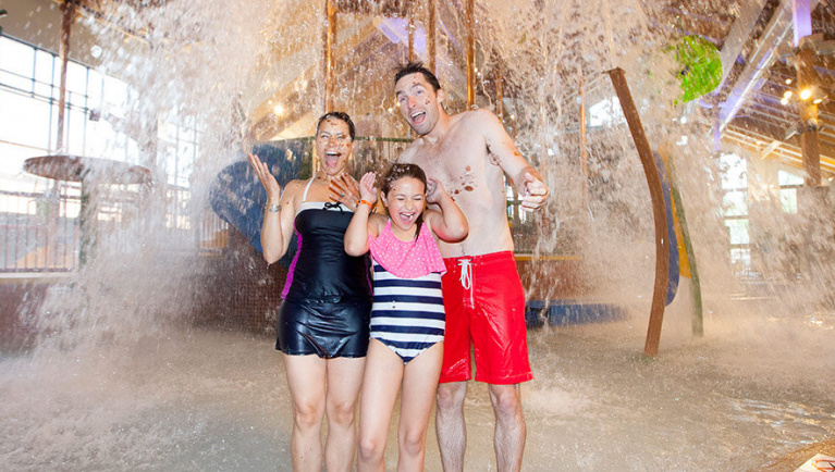Family at Great Wolf Lodge Ma location
