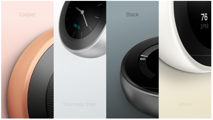 Several styles of the Nest Thermostat