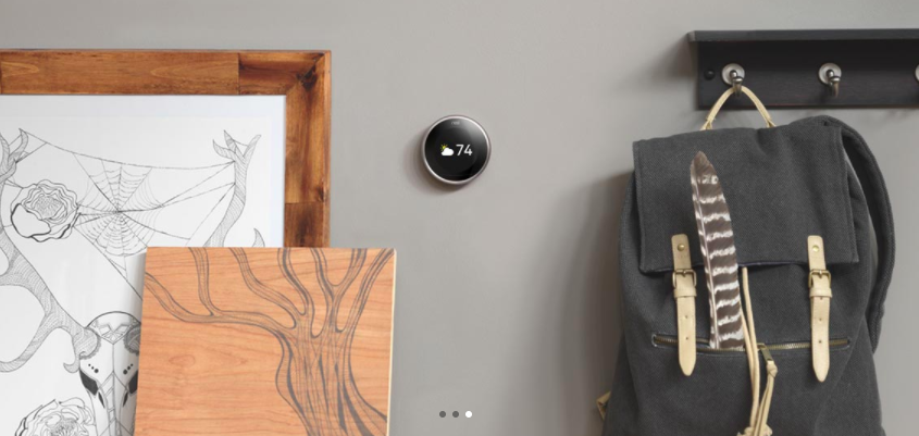 The Nest Thermostat on the wall