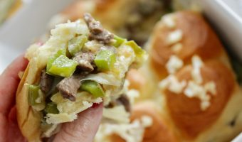 Philly Cheesesteak Sliders hot from the oven
