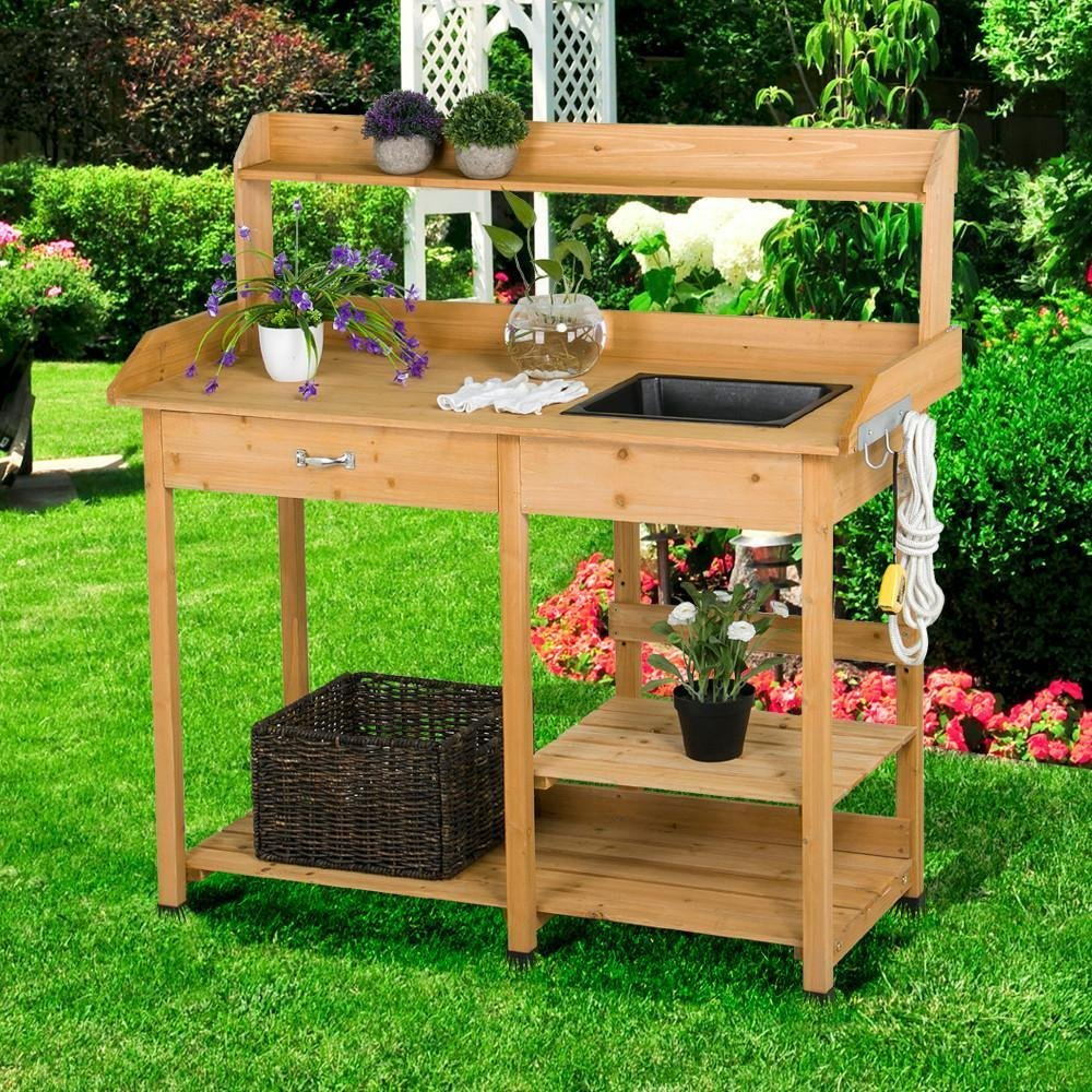solid wood potting bench with sink  65 59  reg   81 99