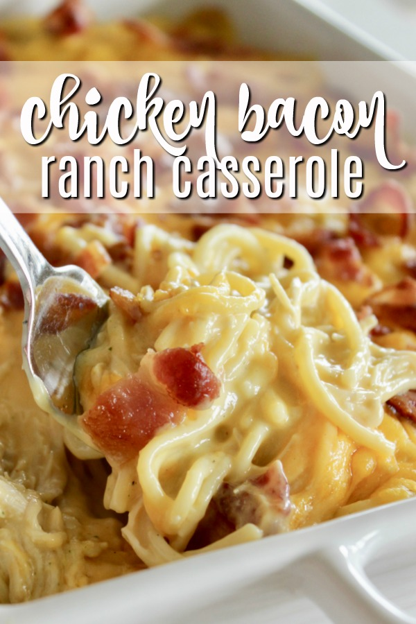 chicken bacon ranch casserole in a white dish