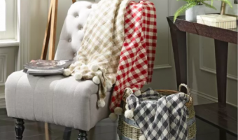 These Plaid Pom Pom Throws on Jane are So Cute!