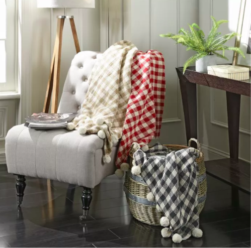 these plaid pom pom throws on jane are so cute. Black Bedroom Furniture Sets. Home Design Ideas