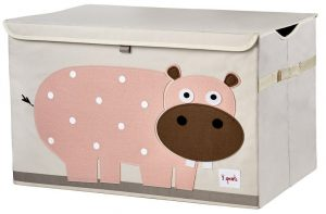3 Sprouts Pink Hippo Toy Chest