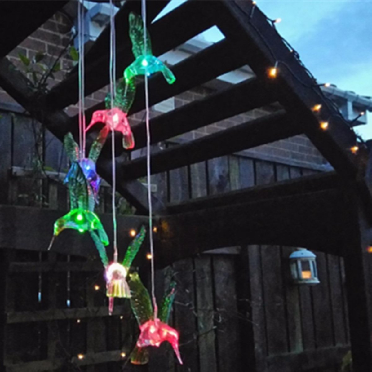 Color Changing Solar Led Hummingbird Wind Chimes 15 43