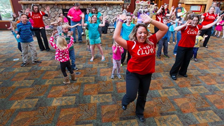 Kids and staff dancing at The Great Wolf Lodge